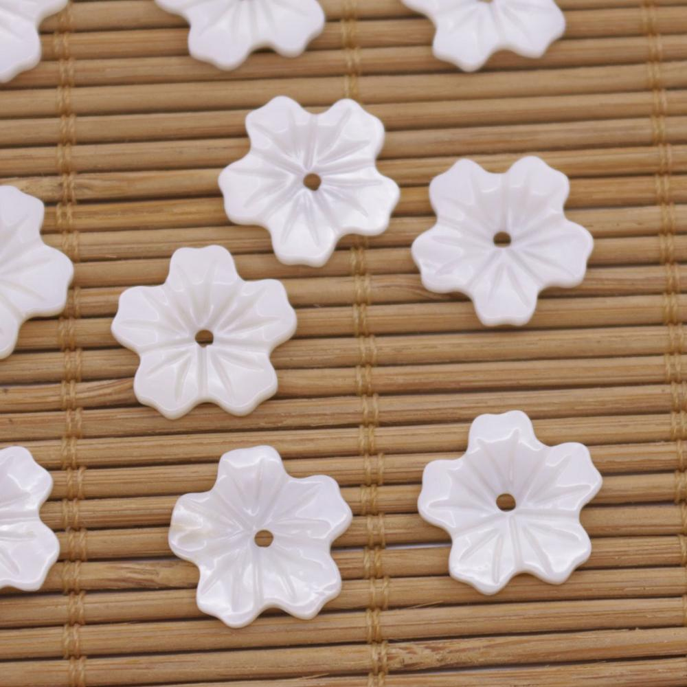 Купить с кэшбэком 10PCS Shell Natural White Mother of Pearl 14mm pentagon Flower Jewelry Making