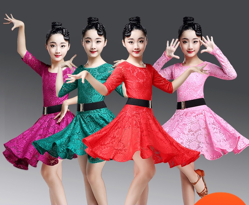Lace  Kids Newest Sexy Ballroom Dresses Tango Salsa Latin Dance Dress Children Red/ Pink /green Lace Dress For Girls Long Sleeve