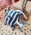 Joyería de moda de Europa y América barato azul peces tropicales retro cadena suéter largo collar hermoso del envío libre