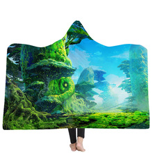 39 Styles Woods Forest River Lake Mountain 3D Printed Plush Hooded Blanket for Beds Warm Wearable Soft Fleece Throw Blankets недорго, оригинальная цена