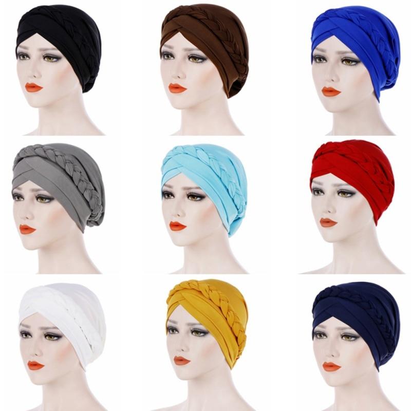 Muslim Hat African Female Headwear Cancer Chemo Cap Turban Hair Accessories Fashion Women Solid Braided Bandanas Headscarf