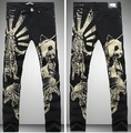Men's Fashion Panda Animals Print Black Skinny Jeans Casual Straight Pencil Pant Night Club New Brand Designer Slim Jeans