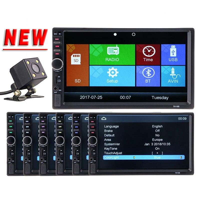 2 Din autoradio lecteur vidéo 7 ''HD Bluetooth Vue Arrière Stéréo FM MP3 MP4 MP5 Audio USB AUX Auto Electronics autoradio 7018B
