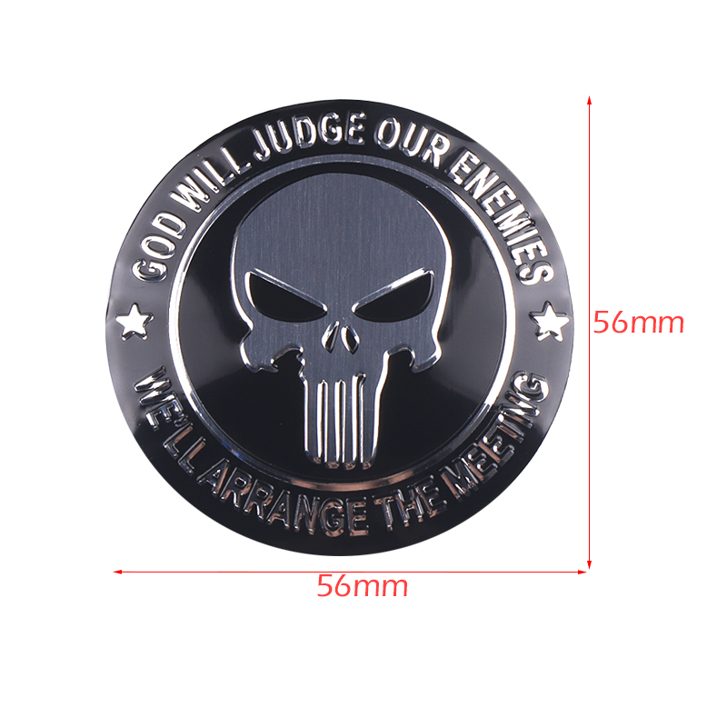 Image 2 - 4pcs 56mm Punisher Skull Logo Aluminum alloy Car wheel center hub caps Aluminum Emblem Badge Sticker Car styling Accessory-in Car Stickers from Automobiles & Motorcycles