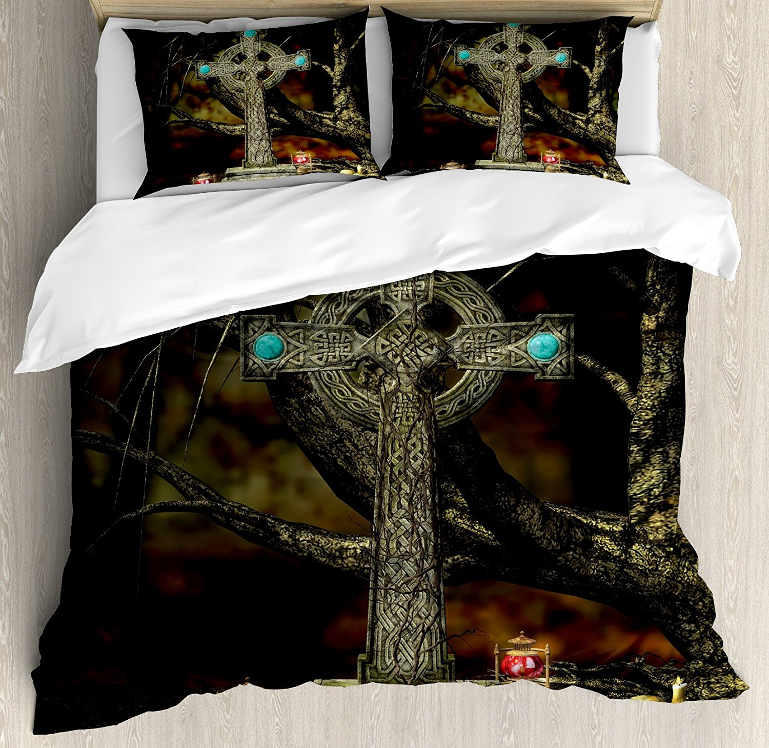Gothic Decor Duvet Cover Set  Gothic Cross Tree Grave Skulls Tombstone Lanterns Graveyard Night Art  4 Piece Bedding Set