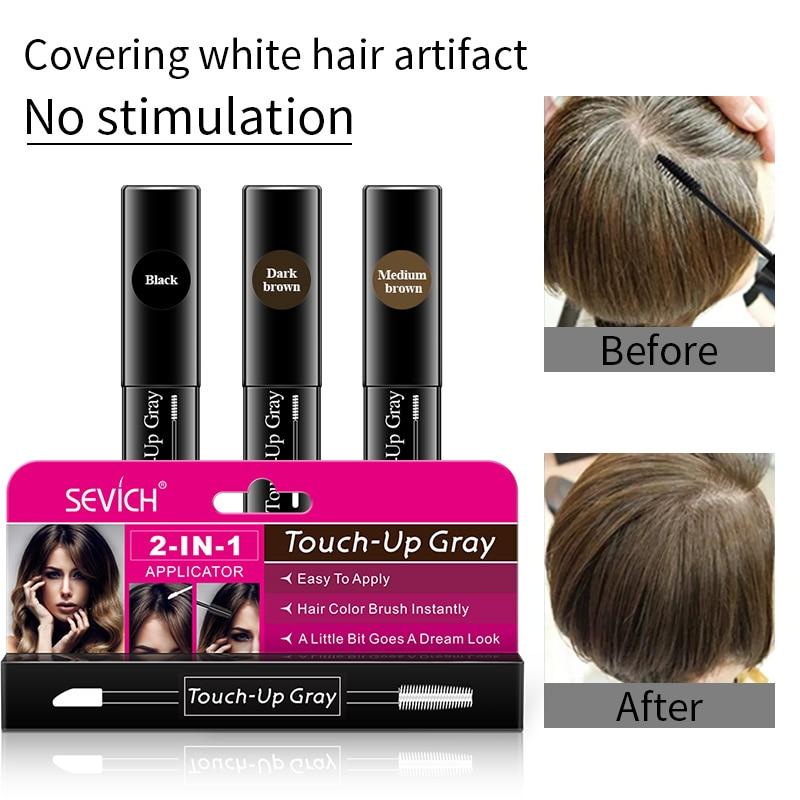One-Time Hair Dye Instant Gray Root Pen Dye Black Hair 2-in-1 Easy To Apply 2 Brush Heads Dark Brown Touch-up Dye White Hair