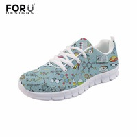 FORUDESIGNS Chemist Pattern Platform Sneakers Women Shoes 2018 Feminino Casual Air Mesh Female Shoes Woman Lace up Shoes