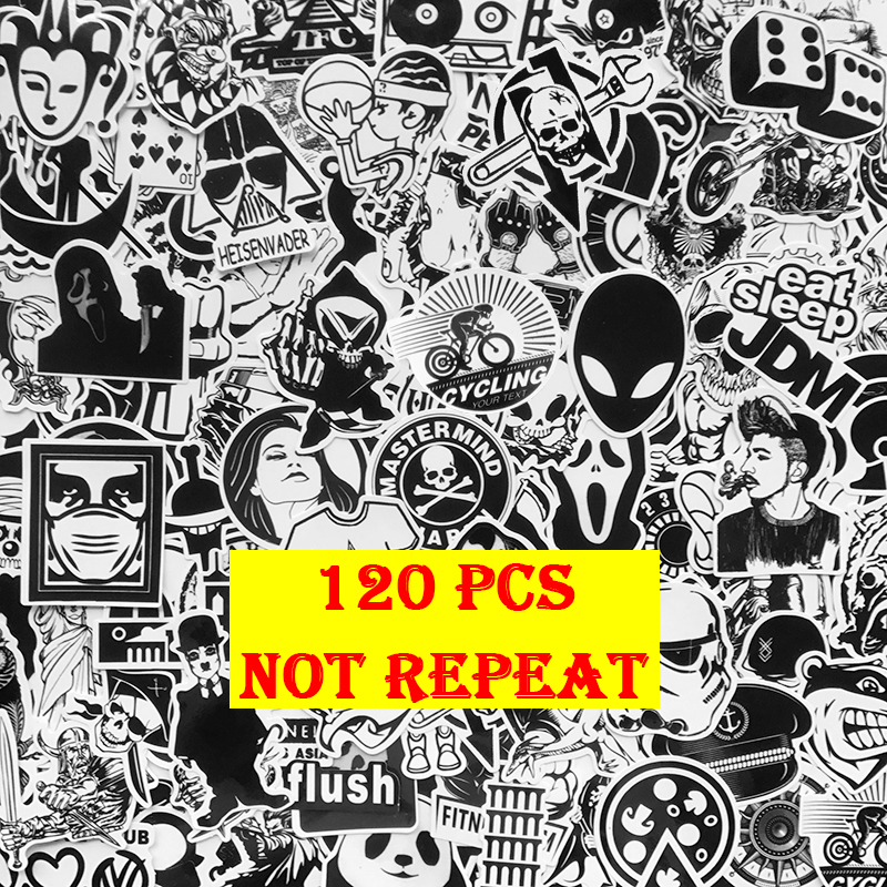 AQK 120Pcs Cool Black White Motorcycle Stickers Graffiti Bomb Decals Sticker Pack DIY Skateboard Luggage Laptop Bike Guitar Car