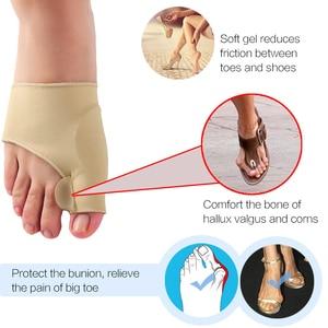 Image 4 - 2 pçs = 1 par dedo do pé separador hallux valgus bunion corrector orthotics pés osso polegar ajustador correção pedicure meia alisador