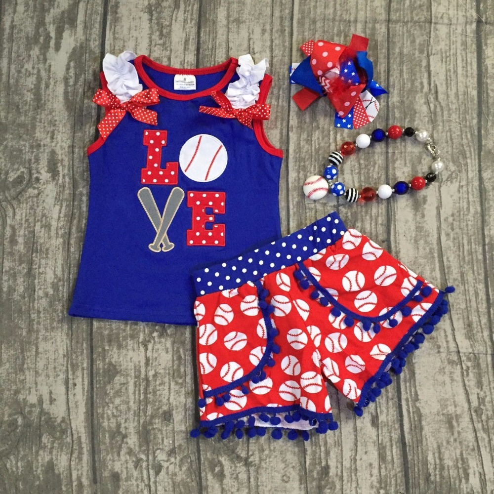 31b851f7 US $14.99 |new baseball season design girls kids Love summer shorts outfits  patriotic clothes with matching necklace and headband pom pom-in Clothing  ...