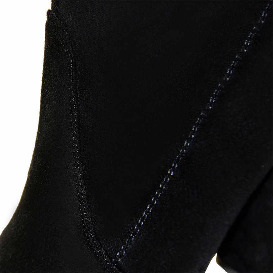 2019 черные женские высокие сапоги до бедра с острым носком; Сапоги выше колена со шнуровкой сзади; удобные женские сапоги из флока на квадратном каблуке