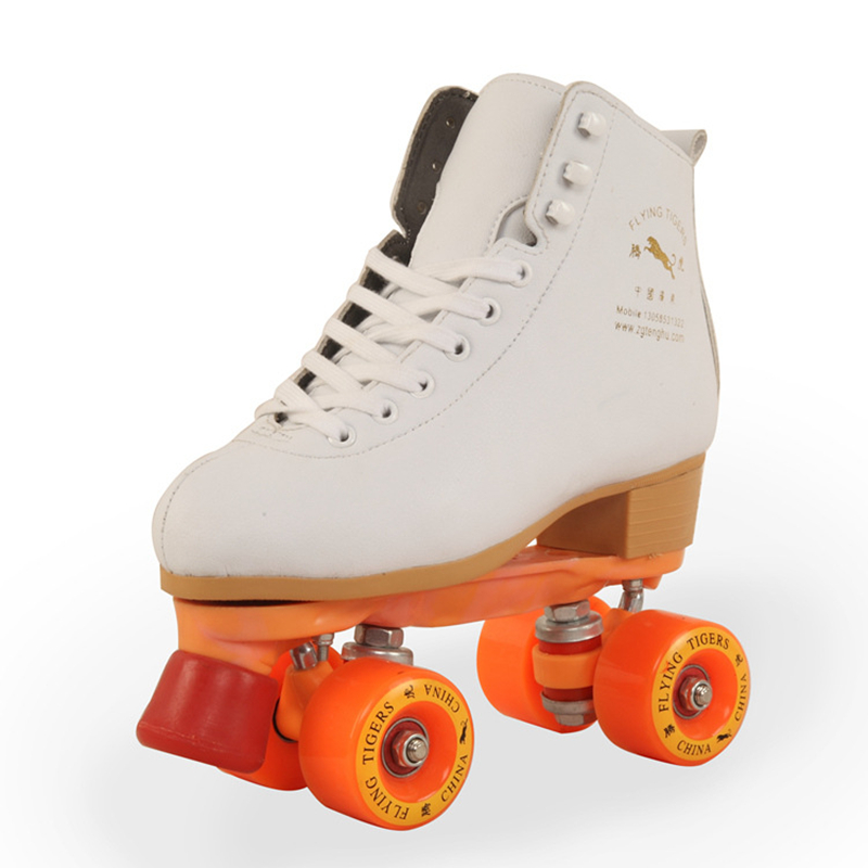 Girls and Ladies' Favorite White Roller Skates with Full Grain Genuine Leather Dual Lane Roller Skate Shoes for Adult Skating vik max adult kids dark blue leather figure skate shoes with aluminium alloy frame and stainless steel ice blade