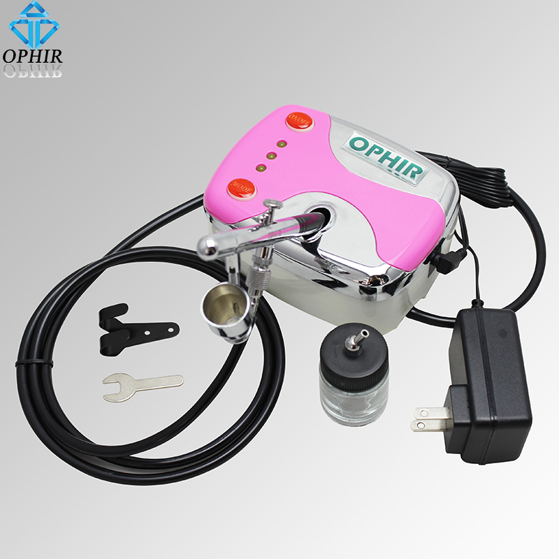 OPHIR 0.35mm Dual-Action Airbrush Kit with Air Compressor for Cake Decorating Temporary Tattoo Model Hobby Air Brush _AC002+072 ophir 0 3mm dual action airbrush compressor kit gravity spray paint gun for hobby tattoo cake decorating airbrush ac088 ac005