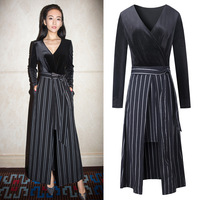 2017 Spring New Ladies Elegant Fashionable Style Ceremonial Dress V Collar Dress Hight Split Dress Striped