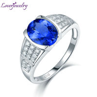 Natural Tanzanite Engagement Rings With Diamond Fine Jewelry Solid 14K White Gold Genuine Gemstone For Women