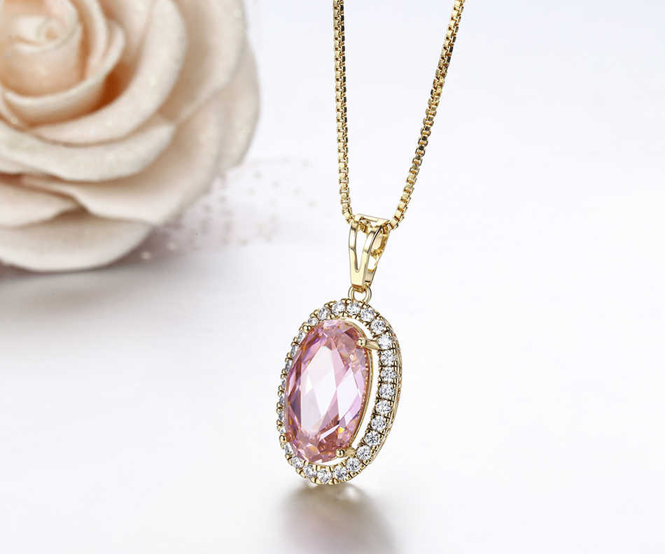 Big Oval Pink Crystal Aound CZ Luxury Suspension Necklaces & Pendants Chain Necklace Women Gold Color Jewelry Collares Bijoux