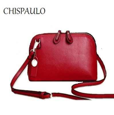 CHISPAULO de marca de diseñador de bolsos de cuero genuino de moda para mujer bolsos de mensajero de borla bandolera bolsos de mano de mujer X52