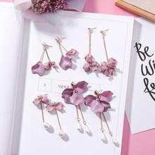 Modern Womens Earrings 2018 Cute Wild Long Tassel Women Dangle Korean Fashion Purple Petal Female Jewelry Accessories