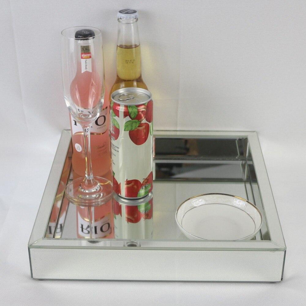 Plateau assiette à fruits en verre carré | Plateau à vin en verre miroir moderne, plateau de rangement pour décoration de mariage, plateau de Collection de maquillage - 2