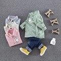 Дети Милый Кролик Печатных Одежда Девочка Устанавливает Длинный Рукав Хлопок Малышей Baby Girl Одежда Устанавливает Дети Костюм Рубашка + брюки