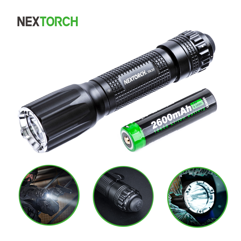 NEXTORCH 1100 lúmenes LED Tactical linterna 18650 batería recargable Ultra brillante impermeable compacto mano antorcha # TA30