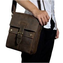 3 first layer of cowhide genuine leather crazy horse leather male one shoulder cross-body 10 laptop bag 8571