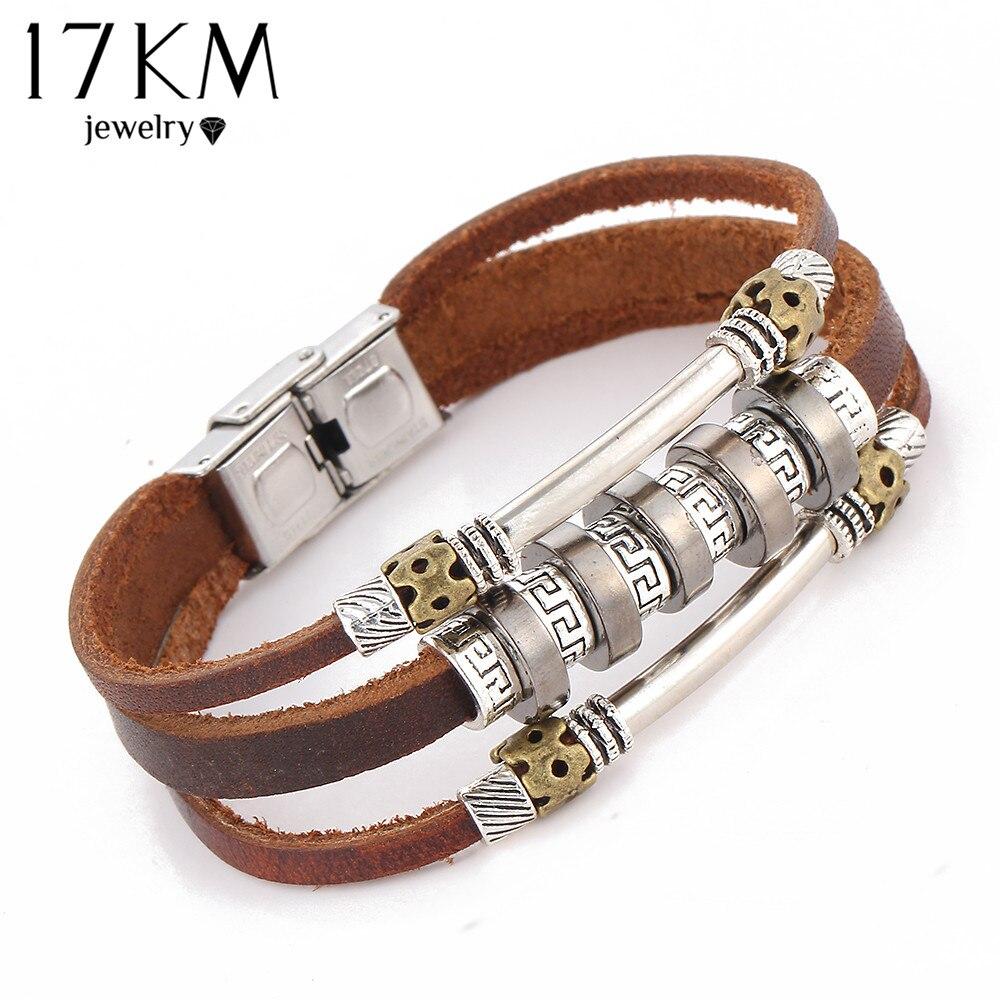 17KM 2016 Handmade Retro Leather Woven Charm Rock Bracelet s