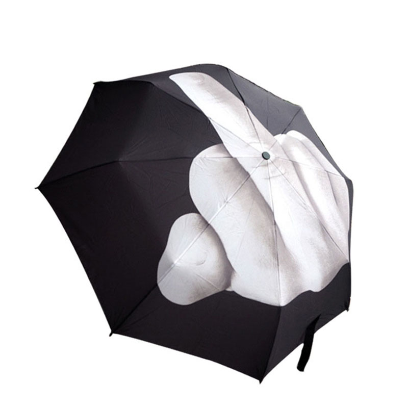 2017 New Novelty Middle <font><b>Finger</b></font> Design Black Umbrella Cool Fashion Impact Umbrella Folding sun and rain Umbrella