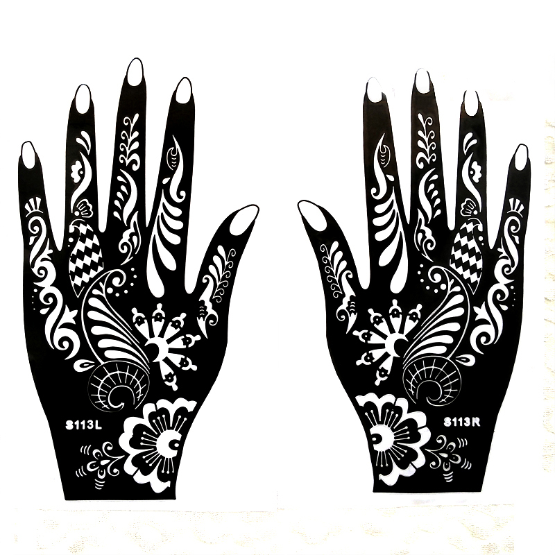1pcs Large Henna Tattoo Stencils For Hand Painting, Flower Glitter Airbrush Mehndi Indian Henna Tatoo Templates Stencil  21*12cm