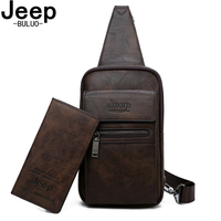 JEEP BULUO Brand Fashion Sling Bags High Quality Men Chest Bags Split Leather Large Size Shoulder Crossbody Bag For Young Man