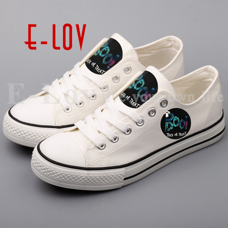 E-LOV New Fashion Printed Happy Halloween Canvas Shoes Couple Lovers Canvas Leisure Shoes Plus Size Casual Shoes Drop Ship e lov women casual walking shoes graffiti aries horoscope canvas shoe low top flat oxford shoes for couples lovers