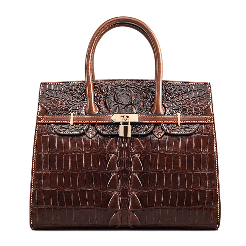 QISU Classic Embossed Crocodile Purse Genuine Leather Office Ladies Handbags Satchel Padlock Tote 247 classic leather