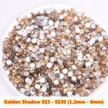 2018 nouveauté or ombre Non chaude fixer ongles Strass cristal swarovski or champange en vrac Strass pour ongles décorations(China)