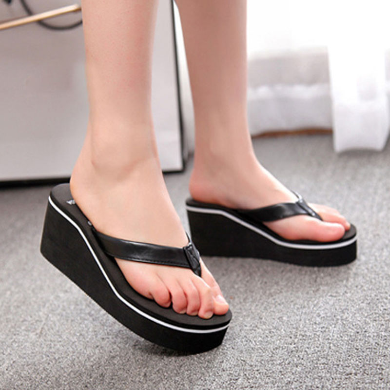 Women Fashion Summer Chunky Sole Wedges Heels Flip Flops Casual Shoes New Arrival Waterproof Taiwan Slippers Sexy Lady Sandals