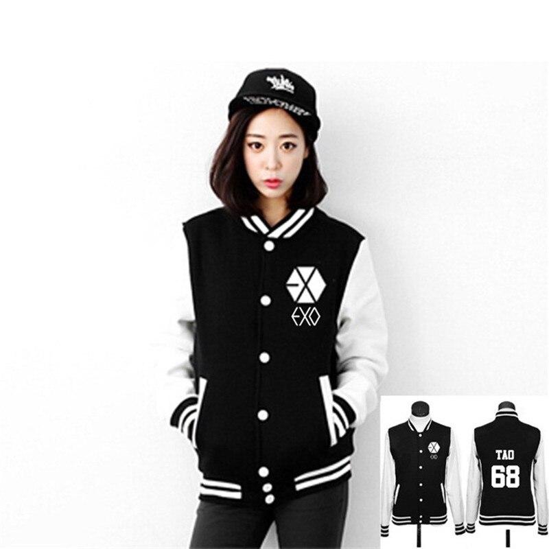 EXO Autumn collar cutton Casual student Hoodies coat women long sleeve baseball uniform Sweatshirts neutral Black numeral jacket
