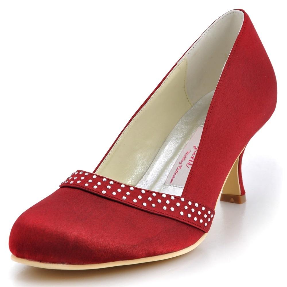 A0718 Burgundy Women Round Closed Toe Med Heels 25 -1525
