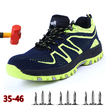 Men spring summer light breathable deodorant safety work shoes Steel toe cap protective