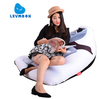 LEVMOON Beanbag Sofa Chair White Men Seat Zac Comfort Bean Bag Bed Cover Without Filler Cotton
