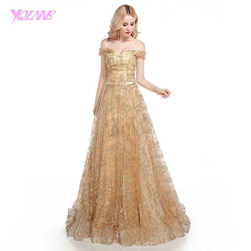 YQLNNE Shining Gold Long   Prom     Dresses   2018 Off the Shoulder Tulle Lace-up Evening Gown   Dress