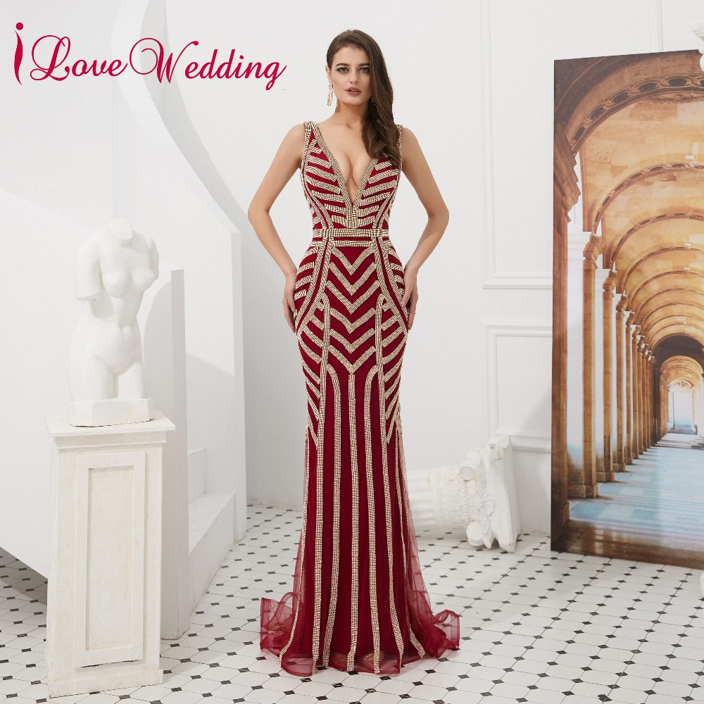 iLoveWedding Gorgeous V Neck   Prom     Dresses   2018 Sleeveless vestido de festa Red Mermaid Long   Prom   Gown Party