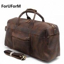 Vintage Crazy Horse Genuine Leather Travel bag men duffle bag luggage travel bag Leather Large Weekend