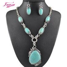 Fashion Vintage Necklace Set Antique Silver Natural stone Jewelry Set Dangle Earrings Classic Pendant Design Fine Jewelry Sets