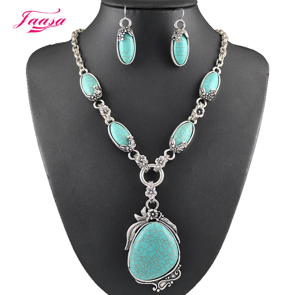 2015 Fashion Vintage Necklace Set Antique Silver Turquoise ...