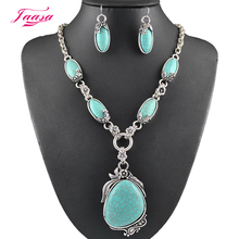 Fashion Vintage Necklace Set Antique Silver Natural stone Jewelry Set Dangle Earrings Classic Pendant Design Fine Jewelry Sets