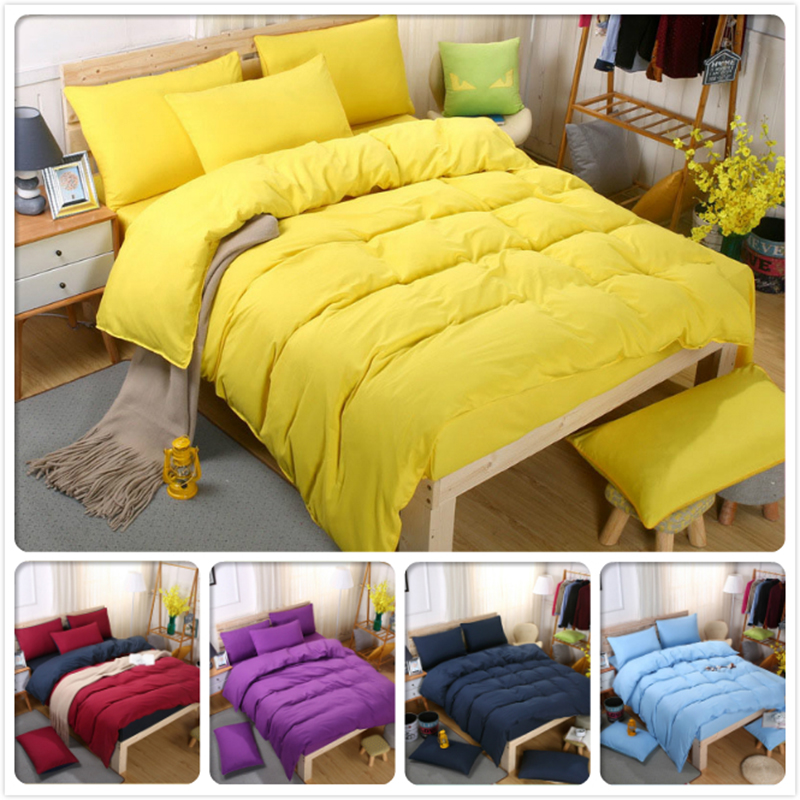 Yellow Bule Gray Pure Color Bedding Set 4pcs King Queen Twin Double Size Bed Sheet 1.5m 1.8m 2m 2.2m Duvet Cover Child Bedlinens