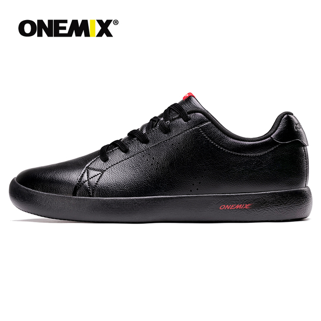 ONEMIX Men Shoes Sneakers 2019 New Casual Soft Leather Skateboard Shoes Lightweight Jogging Training White Black Tenis Masculino