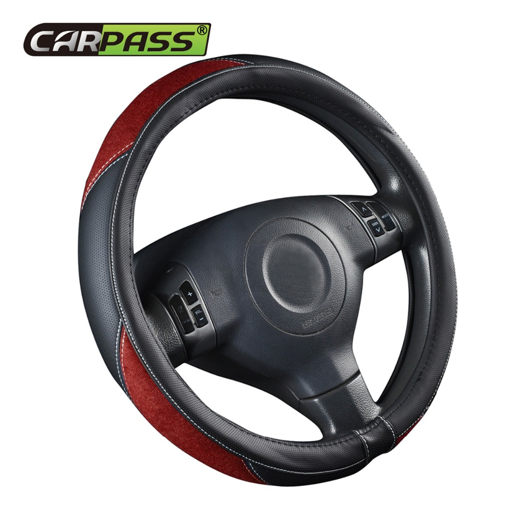 Car-pass Universal Steering wheel Cover Covers Interior Accessories Faux Leather Automotive Blue Gray Red For Kia Ford Nissan