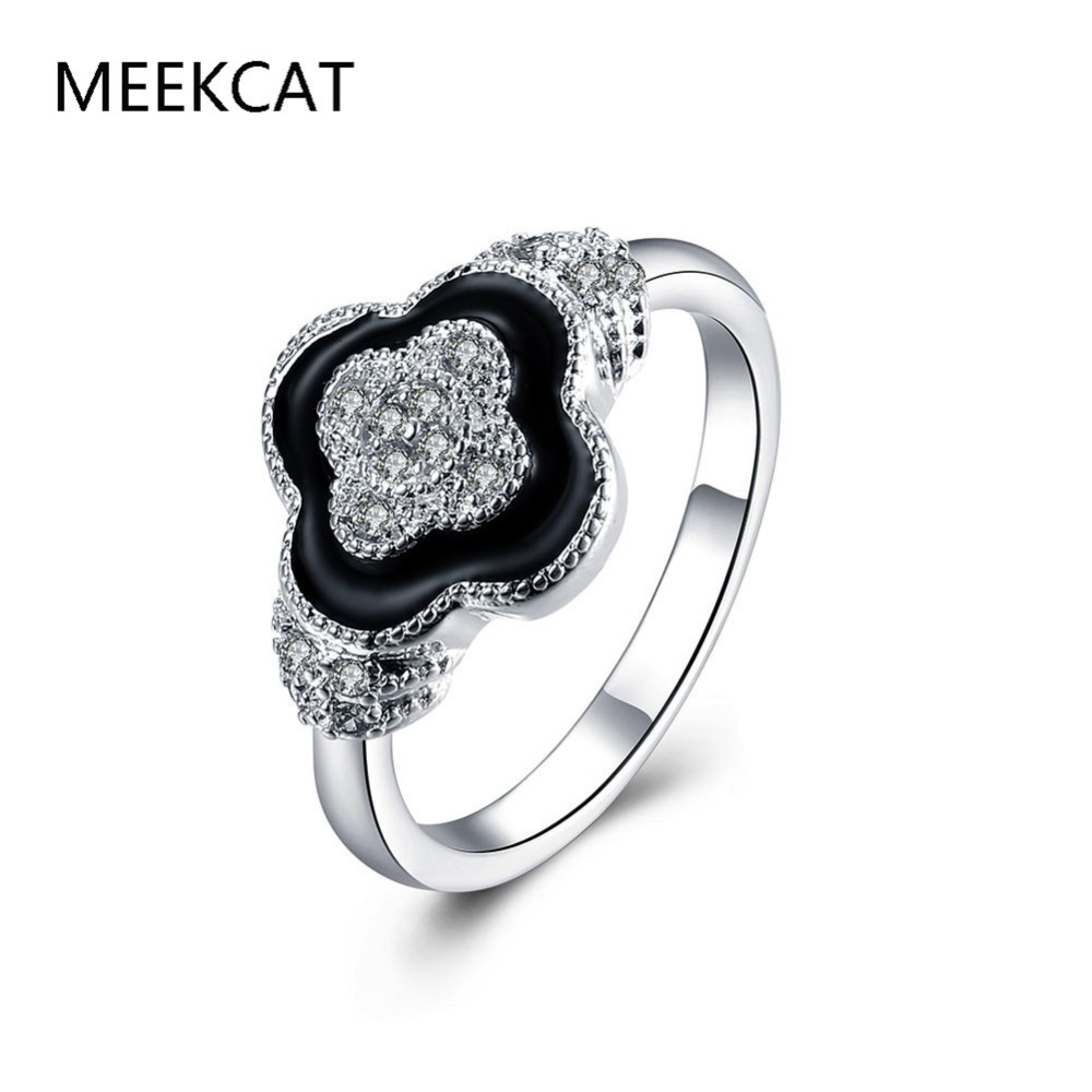 Crystal Black Enamel Ring Midi Finger Ring Engagement Clover Wedding