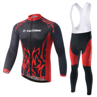 Black Red Long Sleeve Race Bike Clothing Sets Men Bib Pants Quick Dry Maillot Ciclismo L084
