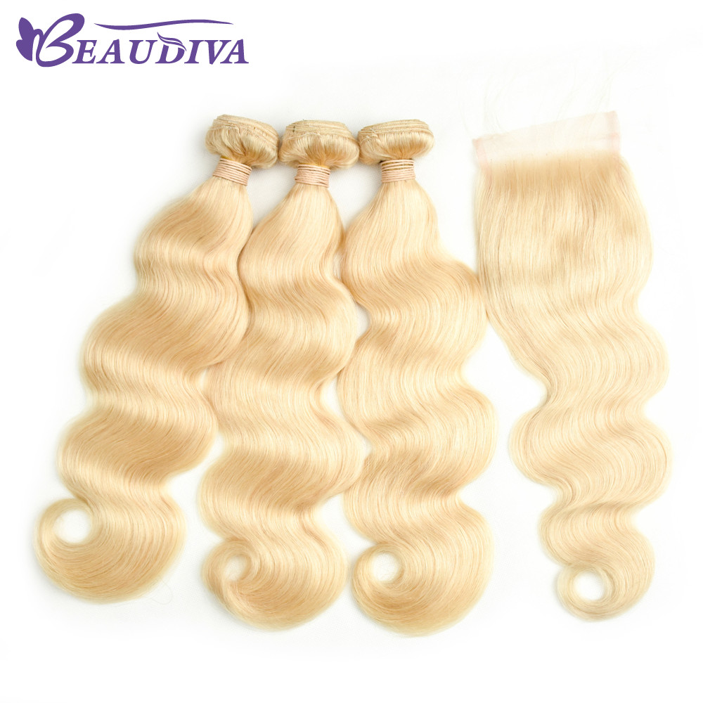 Beaudiva Peruvian Body Wave Hair Bundles With Closure Blonde 613 Bundles Non Remy Human Hair Extensions